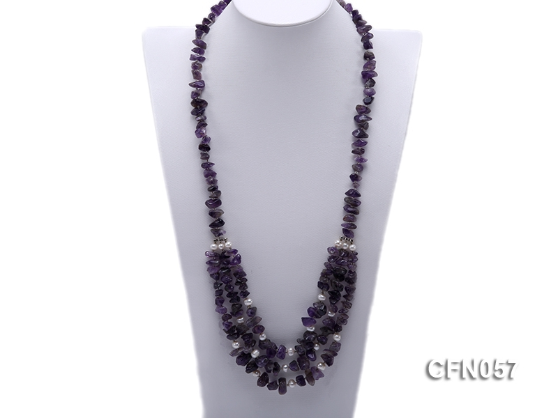10-14mm Amethyst Chips Long Necklace