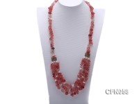 10-14mm Cherry Quartz Chips Long Necklace