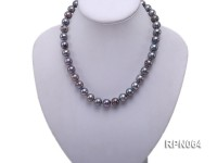 Super-size 13-14mm Black Round Freshwater Pearl Necklace with Sterling Silver Clasp