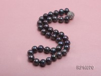 Classic Single-strand 10.5-11.5mm Black Round Freshwater Pearl Necklace