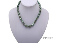 Classic 10x16mm Green Baroque Freshwater Pearl Necklace