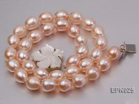 Extraordinary 10x12mm Natural Pink Elliptical Freshwater Pearl Necklace