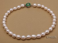 10x12mm White Elliptical Freshwater Pearl Necklace