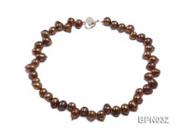 Classic 10x13mm Coffee Drop-shaped Freshwater Pearl Necklace