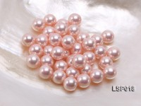 Wholesale 10-10.5mm Pink Round Seashell Pearl Bead