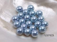 Wholesale 14mm Silver Blue Round Seashell Pearl Bead