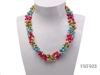Three-strand Red, Champagne , Blue and White Freshwater Pearl Necklace