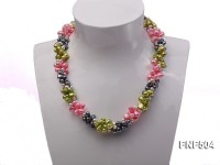 Three-strand 7-8mm Colorful Cultured Freshwater Pearl Necklace