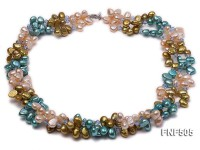 Three-strand 7-8mm Pink, Yellow and blue Freshwater Pearl Necklace Dotted with Blue Quartz Beads