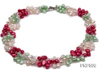 Three-strand White, Red and Green Freshwater Pearl Necklace Dotted with Pink Quartz Beads