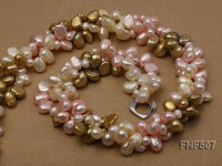 Three-strand 7-8mm Coffee, Pink and Light-yellow Freshwater Pearl Necklace