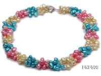 Three-strand 7-8mm Blue, Pink and Light-yellow Freshwater Pearl Necklace