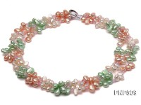 Three-strand 7-8mm White, Pink and Green Freshwater Pearl Necklace