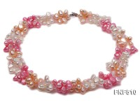 Three-strand 7-8mm White, Pink and Dark-pink Freshwater Pearl Necklace