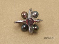 25mm Flower-shaped Gilded Magnetic Clasp with 5-6mm Black Pearl