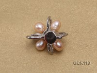 25mm Flower-shaped Gilded Magnetic Clasp with 5-6mm Pink Pearl