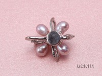 25mm Flower-shaped Gilded Magnetic Clasp with 5-6mm Lavender Pearl