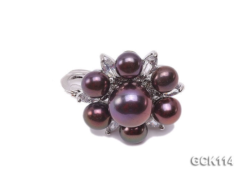 25mm Flower-shaped Gilded Magnetic Clasp with 6-10mm Black Pearl