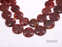 wholesale 35mm red round agate piece strings
