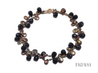 Two-strand Coffee Freshwater Pearl and Black Agate Beads Necklace