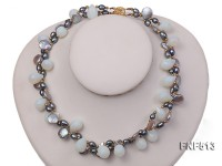 Two-strand Gray Freshwater Pearl and White Drop-shaped Moonstone Necklace