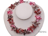 Three-strand green, Coffee and Pink Freshwater Necklace Dotted with White Quartz Beads