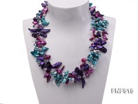 Three-strand 10-25mm Colorful Freshwater Pearl Necklace with Crystal Beads