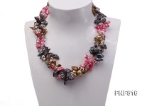Three-strand Gray, Red and Coffee Freshwater Pearl Necklace with Crystal Beads