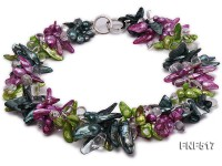 Three-strand Green, Dark-green and purple Freshwater Pearl Necklace with Crystal Beads