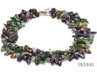 Three-strand dark-green, Coffee and Purple Freshwater Necklace Dotted with White Quartz Beads