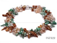 Three-strand 7-18mm Colorful Freshwater Pearl Necklace with Crystal Beads