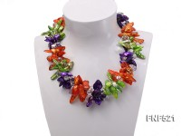 Three-strand Green, Yellow and purple Baroque Freshwater Pearl and White Crystal Beads Necklace
