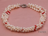 Three-Strand White Freshwater Pearl Necklace with Red Coral Chips