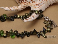 8-10mm green irregular pearl necklace with green drop faceted crystal