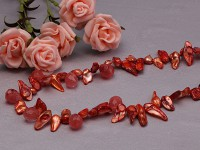 8-10mm red irregular pearl necklace with drop faceted red crystal neckalce
