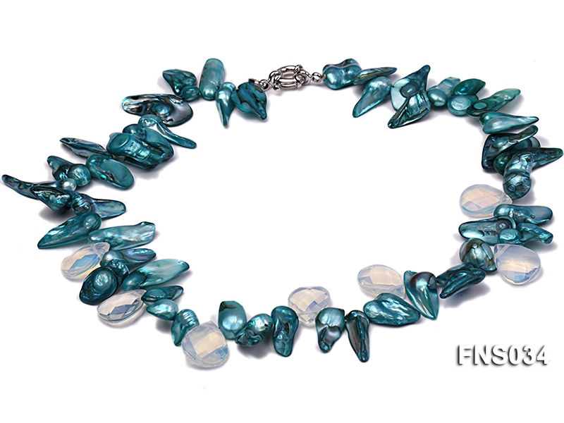 8-10mm sky blue irregular pearl necklace with drop faceted moonstone