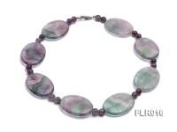30x40mm Oval Fluorite Pieces and Round Moss Agate Beads Necklace