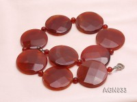 45mm red round dis faceted agate necklace