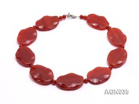 30x40mm red flat oval faceted and round  agate necklace