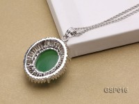 25X30mm Green Jade Cabochon Pendant with Zircon
