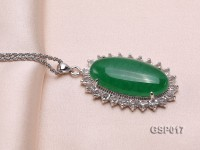 23x36mm Green Jade Cabochon Pendant with Zircon