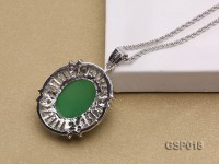 23x27mm Green Jade Cabochon Pendant with Zircon