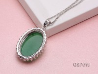 24x34mm Green Jade Cabochon Pendant with Zircon