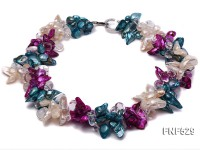 Three-strand Blue, White and Purple Freshwater Pearl and White Crystal Beads Necklace