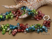 Three-strand Blue, Green and Coffee Freshwater Pearl and White Crystal Beads Necklace