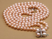 3 strand pink round freshwater pearl necklace with pearl clasp