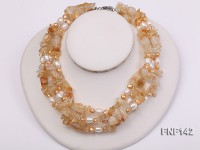 Four-strand White and Golden Freshwater Pearl and Yellow Crystal Chips Necklace