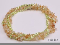 Two-strand 6-7mm light-green Freshwater Pearl and Yellow Crystal Chips Necklace
