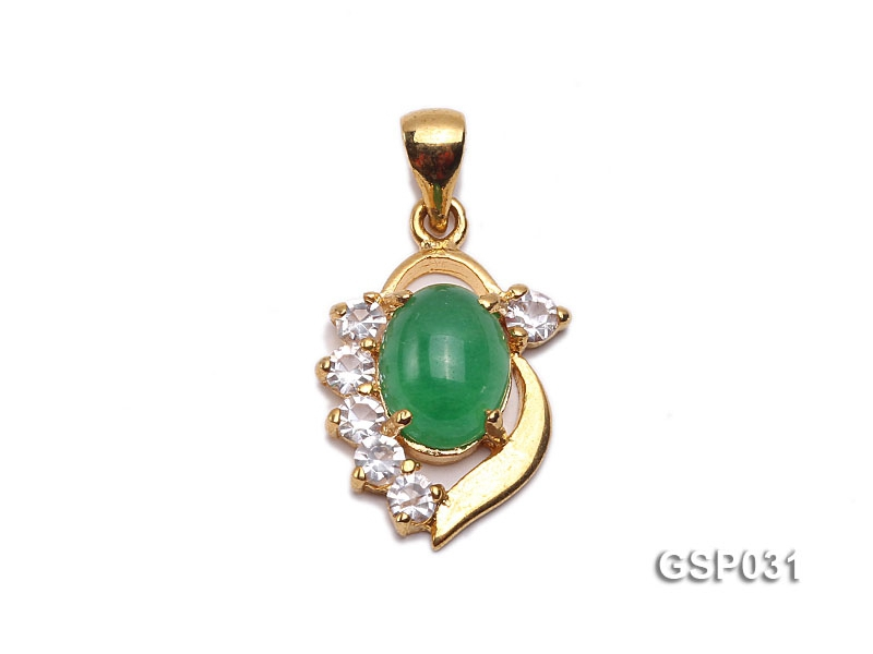 11x15mm Green Jade Cabochon Pendant with Zircon