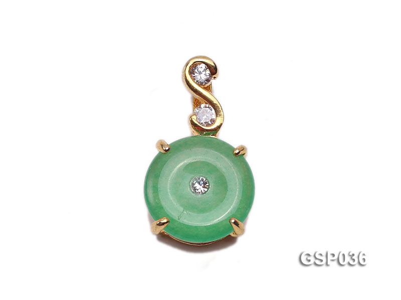 11x20mm Round Disc-Shaped Green Jade Pendant